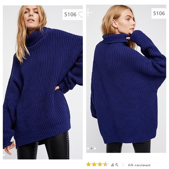 Free People Sweaters Swim Too Deep Sweater Navy Sz Medium Poshmark